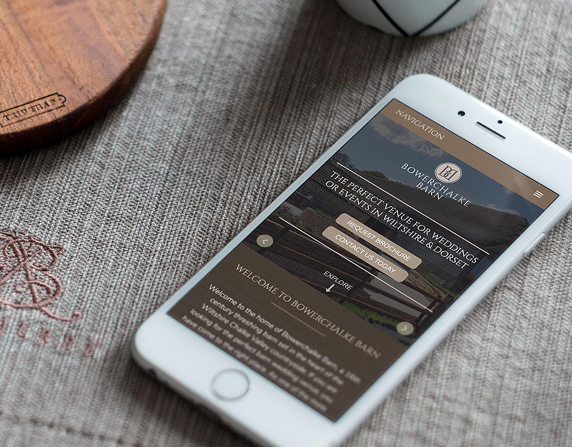 Bowerchalke Barn website on a mobile device