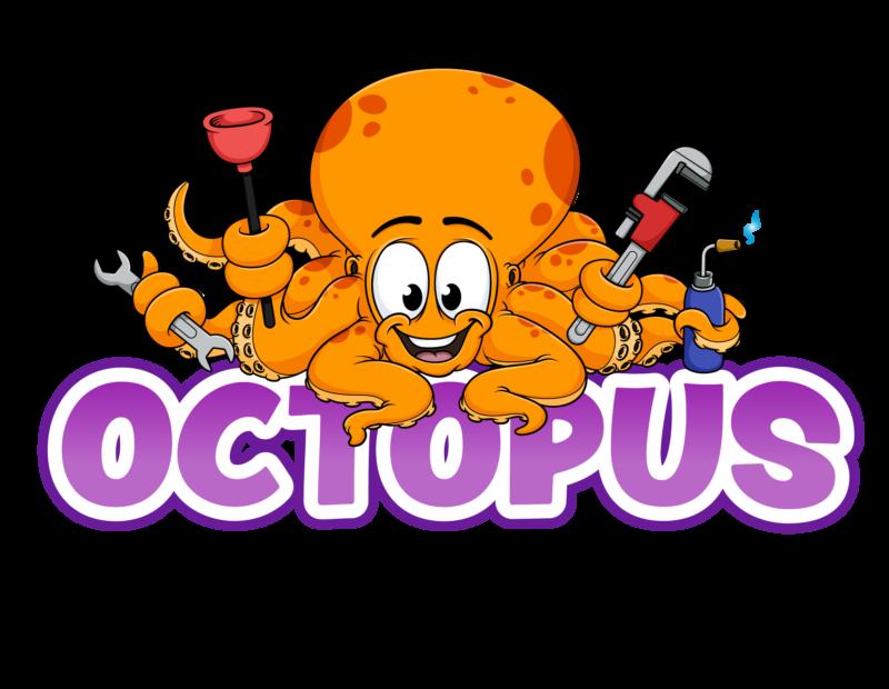Octopus plumbing cartoon logo design salisbury