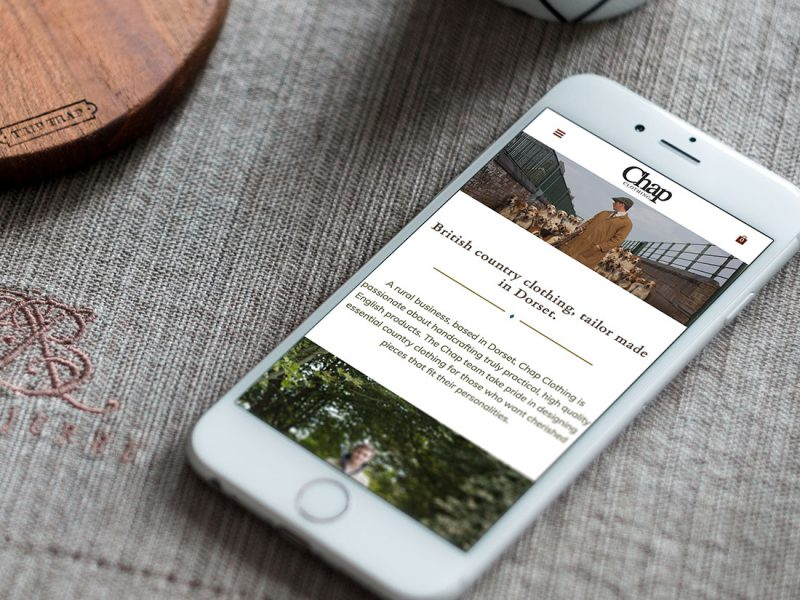 Website design for Chap Clothing