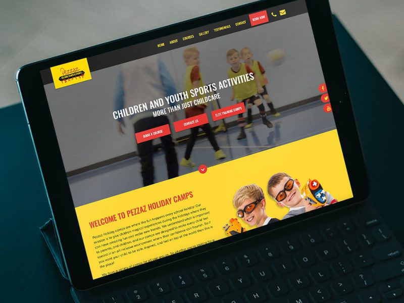 Website design for Pezzaz Holiday Camps