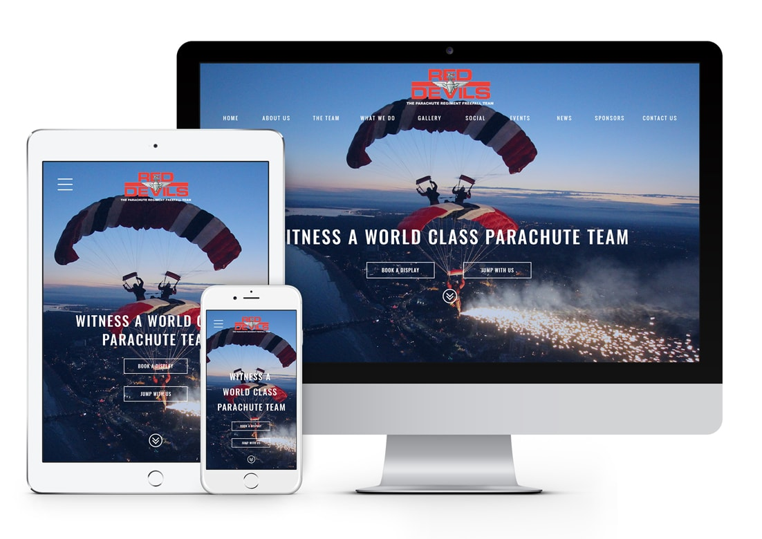 Red Devils Parachute Team Custom Web Design, Salisbury, Wiltshire.