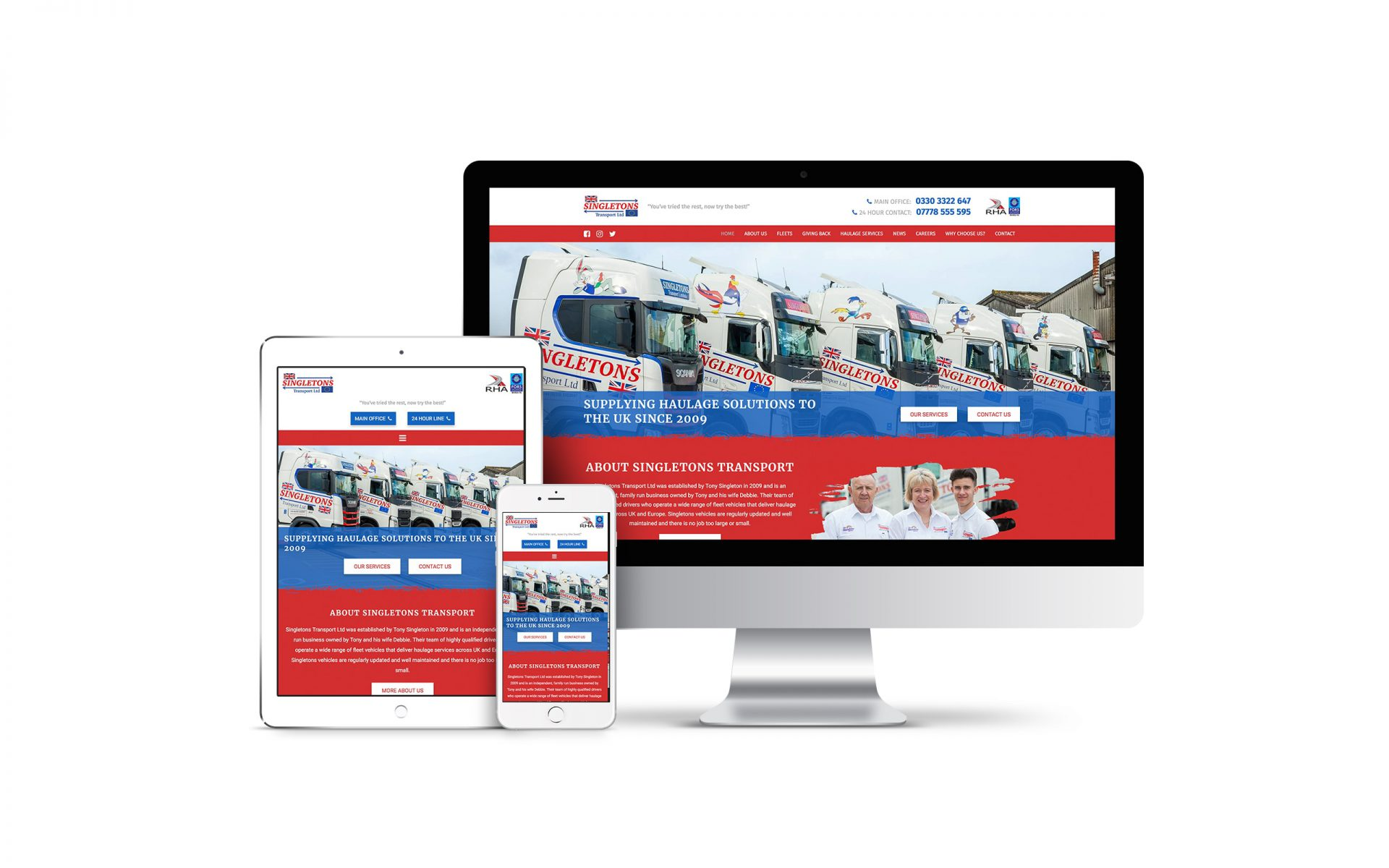 Website Design for Singletons Transport Ltd