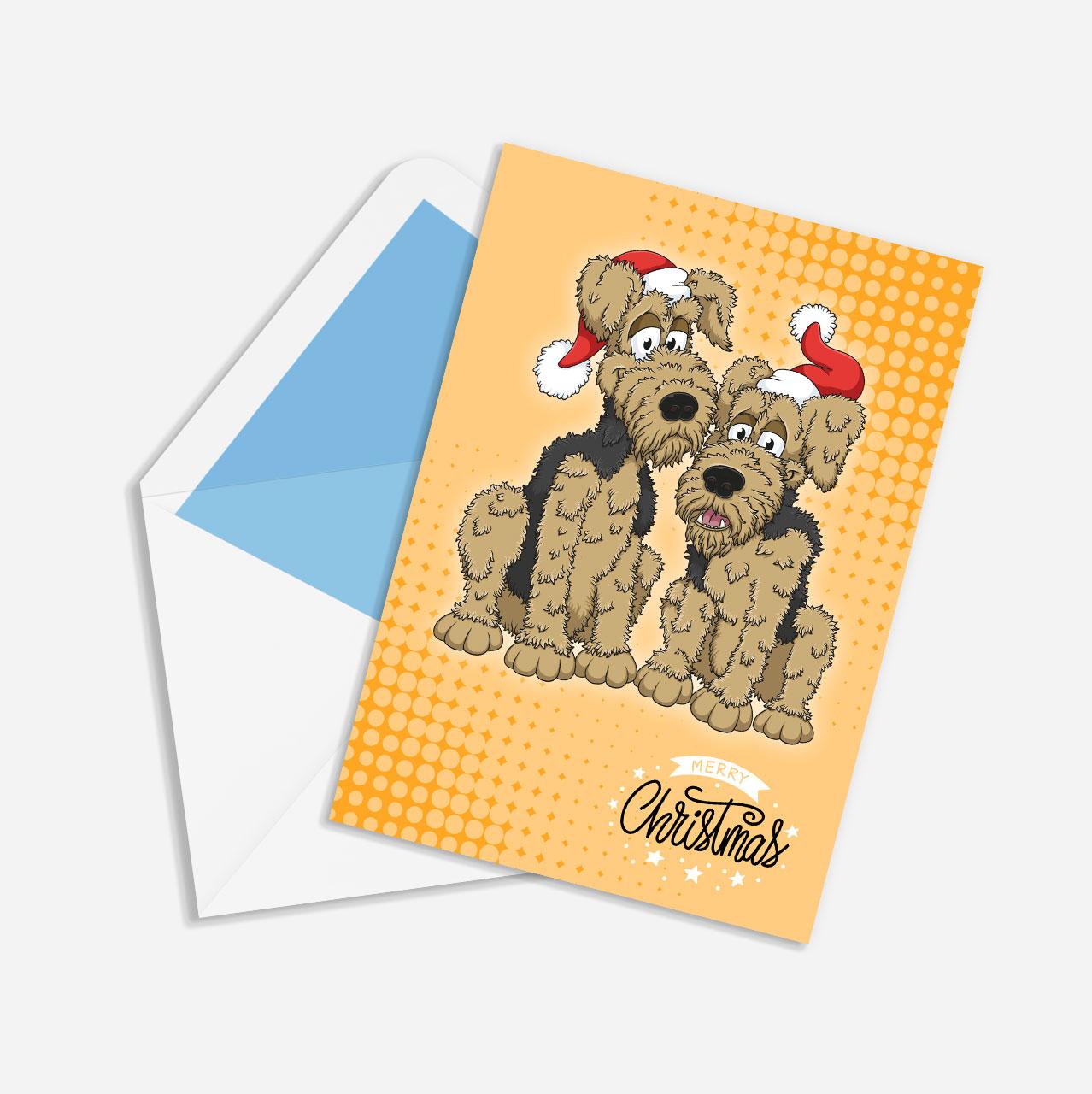 Custom illustrated dog Christmas cards
