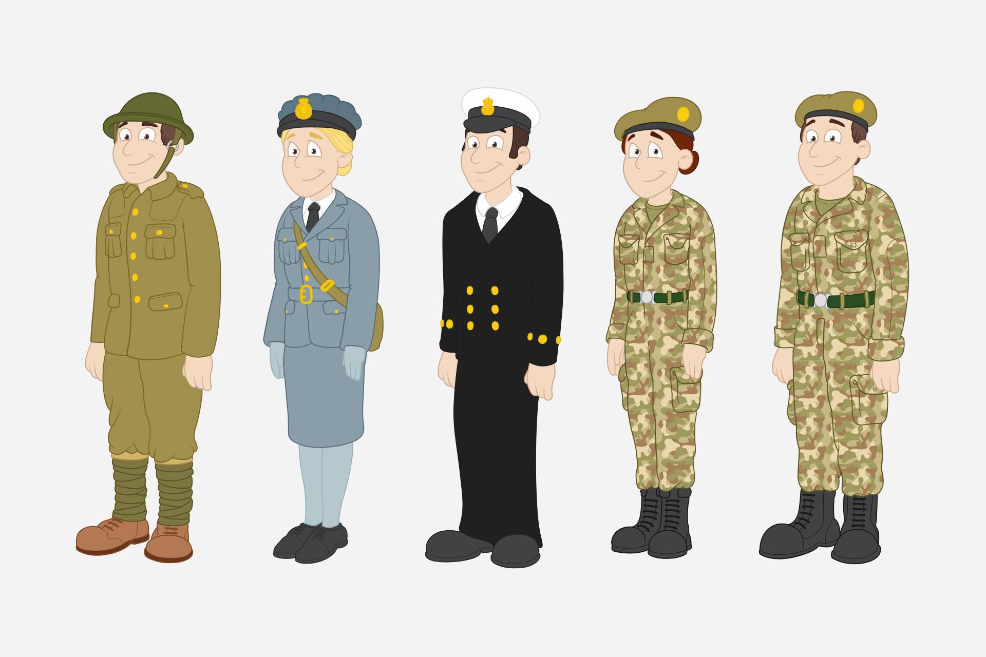 military history cartoon mascots